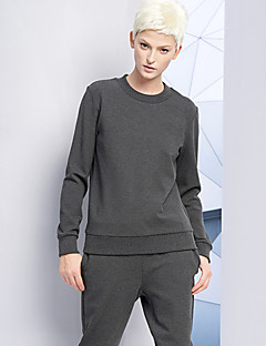 DL.FANG Women's Going out / Casual/Daily Simple Regular HoodiesSolid Gray Round Neck Long Sleeve Polyester Winter