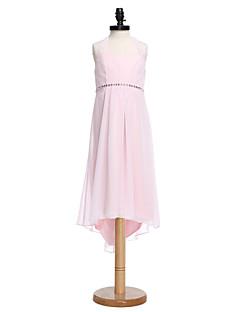 2017 Lanting Bride® Asymmetrical Chiffon Junior Bridesmaid Dress Sheath / Column Halter with Beading / Bow(s)