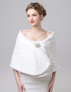 Women's Wrap Shawls Faux Fur / Imitation Cashmere Wedding / Party/Evening Button / Pattern / Rhinestone