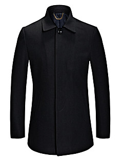 Men's Plus Size Vintage CoatSolid V Neck Long Sleeve Fall / Winter Blue / Black Wool / Cotton / Polyester Thick