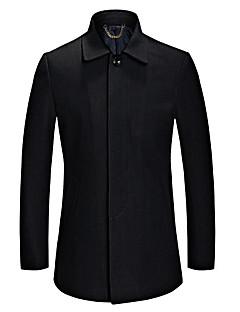Muži Jednobarevné Velké velikosti Vintage Kabát-Vlna / Bavlna / Polyester Podzim / Zima Do V Dlouhý rukáv Modrá / Černá Tlusté