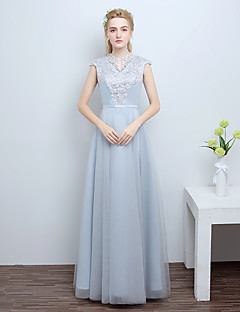 Formal Evening Dress A-line Notched Floor-length Tulle with Appliques