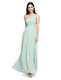 2017 Lanting Bride® Floor-length Chiffon Elegant Bridesmaid Dress - A-line Straps with Criss Cross
