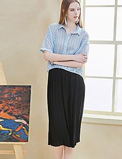 Femme simple Micro-élastique Pantalon,Ample Couleur Pleine
