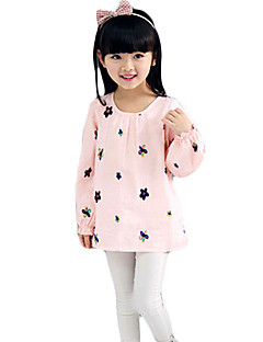 Girl's Casual/Daily Patchwork BlouseSilk Spring / Fall Pink / White