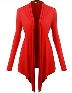 Feminino Longo Carregam,Para Noite Casual Férias Vintage Simples Moda de Rua Sólido Azul Vermelho Preto Roxo Colarinho de CamisaManga