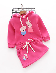 Girl's Casual/Daily Solid Hoodie & Sweatshirt / Skirt / Clothing SetCotton Winter / Fall Pink / Purple / Red / Gray