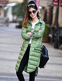 여성 심플 캐쥬얼/데일리 긴 다운 패딩 코트,솔리드 자카드-그외 화이트 오리털 긴 소매 셔츠 카라