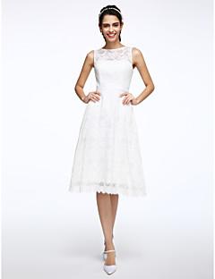 A-라인 쥬얼리 무릎 길이 레이스 웨딩 드레스 와 허리끈/리본 으로 LAN TING BRIDE®