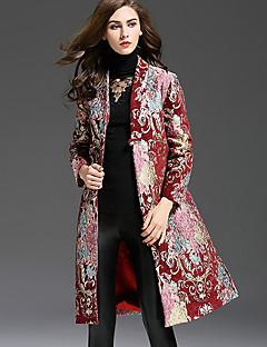 Damen Stickerei Anspruchsvoll Lässig/Alltäglich / Übergröße Trenchcoat,Herbst / Winter V-Ausschnitt Langarm Rot Mittel Polyester