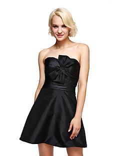 Cocktail Party Dress A-line Sweetheart Short / Mini Taffeta with Bow(s)