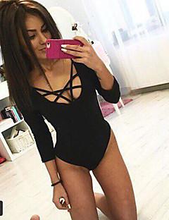 Langermet Kvinner Jumpsuits Elastisk Bomull / Nylon Sexy