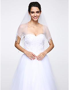 Véus de Noiva Duas Camadas Véu Cotovelo Borda Enfeitada Rede