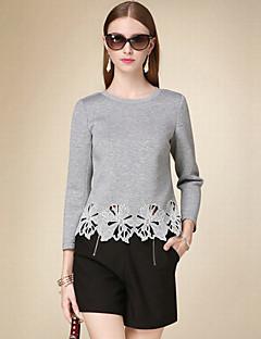 T-shirt Da donna Casual Semplice Autunno,Tinta unita Rotonda Cotone Grigio Maniche a ¾ Medio spessore