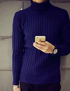 Herre Simpel Casual/hverdag Normal Pullover Ensfarvet,Flerfarvet Rullekrave Langærmet Bomuld Efterår / Vinter Medium Mikroelastisk