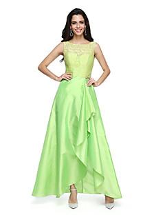 A-Şekilli Taşlı Yaka Asimetrik Dantelalar Tafta Resmi Akşam Elbise ile Fırfırlı tarafından TS Couture®