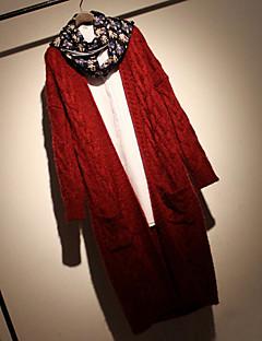 Dámské Vintage / Jednoduché Běžné/Denní Standardní Kardigan Jednobarevné,Červená / Béžová / Černá / Hnědá Dlouhý rukáv Do V BavlnaPodzim