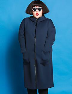 Casual/hétköznapi / Nagy méretek Egyszerű Téli-Női Kabát,Egyszínű Kapucni Hosszú ujj Kék Poliészter / Spandex / Egyéb
