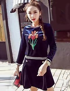 Dames Vintage / Eenvoudig Herfst / Winter T-shirt Rok Suits,Uitgaan / Casual/Dagelijks / Vakantie Geborduurd Ronde hals Lange mouwBlauw /
