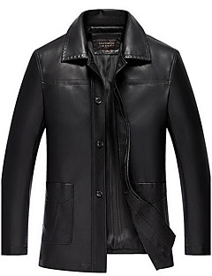 Men's Casual/Daily Simple Leather Jackets,Solid Shirt Collar Long Sleeve Winter Black PU Thick