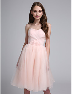 2017 Lanting Bride® Knee-length Organza Bridesmaid Dress - Ball Gown Sweetheart with Criss Cross