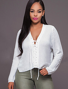 Women's Lace up Going out / Casual/Daily Sexy / Simple Spring / Fall Criss-Cross Cut Out Slim T-shirtSolid V Neck Long Sleeve White Medium