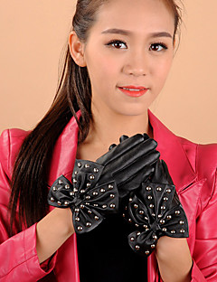 женская длина пу Bowknot заклепки запястья кончики пальцев мило / партии / вскользь способа зимы теплые перчатки