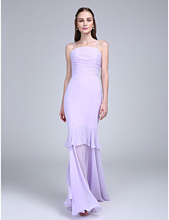 2017 Lanting bride® podlahy Délka šifónové družička šaty - fit& světlice špagetová ramínka s ruching