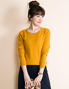 Women's Casual/Daily Simple Short Pullover,Solid Blue Red Yellow Round Neck Long Sleeve Cashmere Polyester Fall Medium Micro-elastic