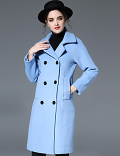 Feminino Casaco Casual Simples Outono / Inverno,Sólido Azul Lã Lapela Chanfrada-Manga Longa