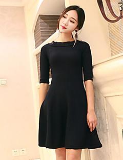 Kadın Günlük/Sade Sade Örgü İşi Elbise Solid,½ Kol Uzunluğu Yuvarlak Yaka Diz üstü Mavi Yünlü / Pamuklu Sonbahar Normal Bel Streç Orta