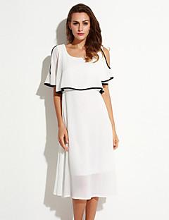 Nais- Sifonki Mekko Yksinkertainen Rento/arki,Yhtenäinen Pyöreä kaula-aukko Maxi ½ hiha Valkoinen Polyesteri Kesä
