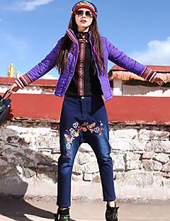 Dame Tynd Plus Størrelser Jeans Bukser-Boheme Casual/hverdag Trykt mønster Broderi Alm. taljede Elasticitet Bomuld / Spandex Strækkende