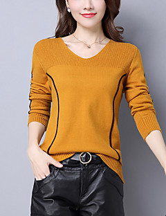 Women's Casual/Daily Street chic Regular Pullover,Striped Pink Black Brown Yellow V Neck Long Sleeve Wool Fall Winter Medium Stretchy