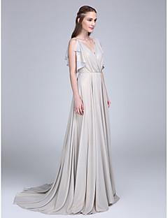 LAN TING BRIDE שובל סוויפ \ בראש צווארון וי שמלה לשושבינה - אלגנטי ללא שרוולים שיפון