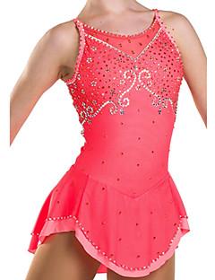 アイススケートウェア 女性用 ノースリーブ スケーティング ドレス 高弾性 フィギュアスケートのドレス 高通気性 / 快適 レース エラステイン ピンク スケートウェア 屋内