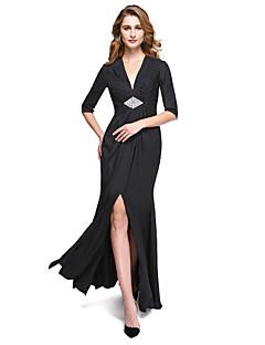 Lanting Bride® מעטפת \ עמוד שמלה לאם הכלה  - פורקל עד הריצפה חצי שרוול ג'רסי  -  שסע קדמי / בד בהצלבה / סיכה מקריסטל / קפלים