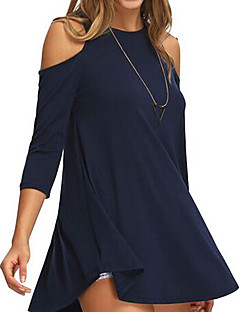 Women's Casual/Daily Simple Fall Shirt,Solid Round Neck ½ Length Sleeve Blue Black Others