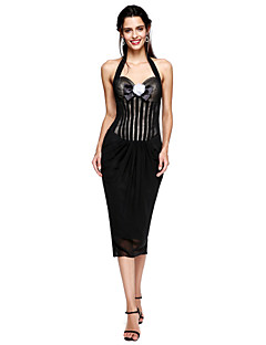 TS Couture Cocktail Party / Prom / Dress - Celebrity Style Little Black Dress Sheath / Column Halter Tea-length Chiffon with Flower(s)