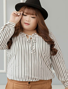 Mujer Simple Casual/Diario / Tallas Grandes Otoño Camisa,Escote Redondo Un Color Manga Larga Poliéster Blanco Medio