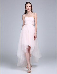 2017 Lanting Bride® Asymmetrical Tulle Bridesmaid Dress - A-line Sweetheart with Sash