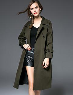 여성 솔리드 셔츠 카라 긴 소매 트렌치 코트-심플 캐쥬얼/데일리 그린 면 / 나일론 겨울