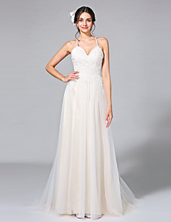 2017 Lanting Bride® A-line Wedding Dress - Chic & Modern Floral Lace Court Train Spaghetti Straps Tulle with Appliques / Beading