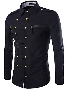 Men's Casual/Daily Simple Shirt,Solid Shirt Collar Long Sleeve Blue / Red / Black / Green Cotton
