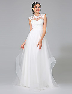 2017 Lanting Bride® A-line Wedding Dress - Chic & Modern Open Back Sweep / Brush Train Jewel Tulle with Appliques