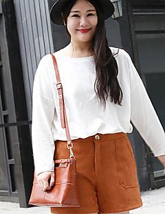 Mujer Simple Tallas Grandes / Noche Primavera / Otoño Camiseta,Escote Redondo Un Color Manga Larga Algodón Blanco Medio