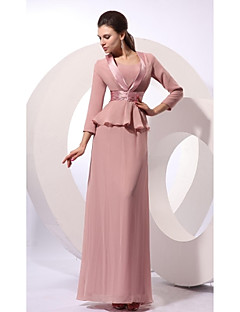 Sheath / Column Mother of the Bride Dress Floor-length Jewel Sleeveless Chiffon with Sash / Ribbon