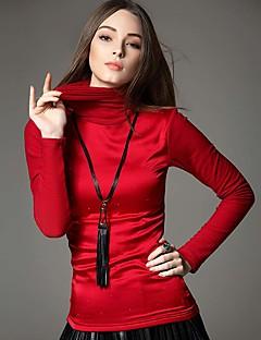 Dames Eenvoudig / Street chic Winter T-shirt,Uitgaan / Werk Effen / Patchwork Lange mouw Blauw / Rood / Zwart Polyester / Nylon / Spandex