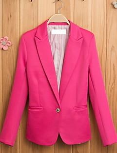 여성의 솔리드 스퀘어 넥 긴 소매 블레이져 블루 / 핑크 면 겨울 얇음