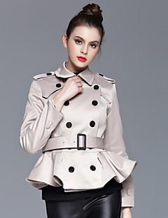 Casual/hétköznapi Egyszerű Őszi / Téli-Női Kabát,Egyszínű Hasított rever Hosszú ujj Bézs Pamut